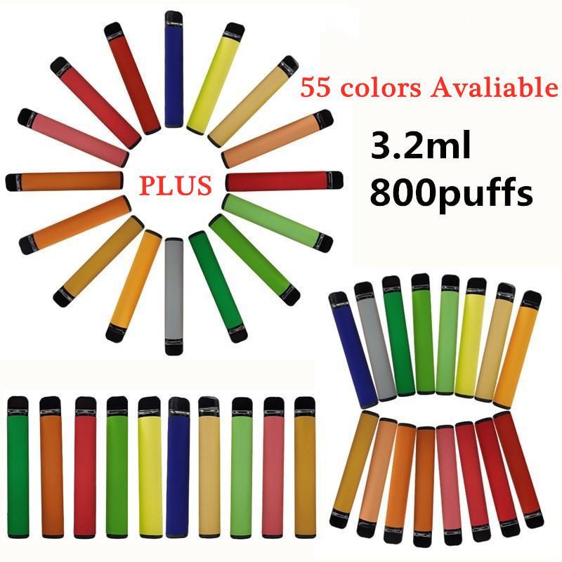 플러스 일회용 vape 펜 장치 3.2ml 카트리지 포드 스타터 키트 550mAh vape prefilled 기화기 새로운 포장 55 색 빈 OEM