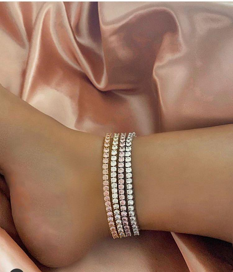 Jewelry Bracelets Accessories Jewerly Out Hop Fashion Initial Anklets Diamond Tennis Chain Iced Luxury Hip Women Designer Bling Charms Tftn