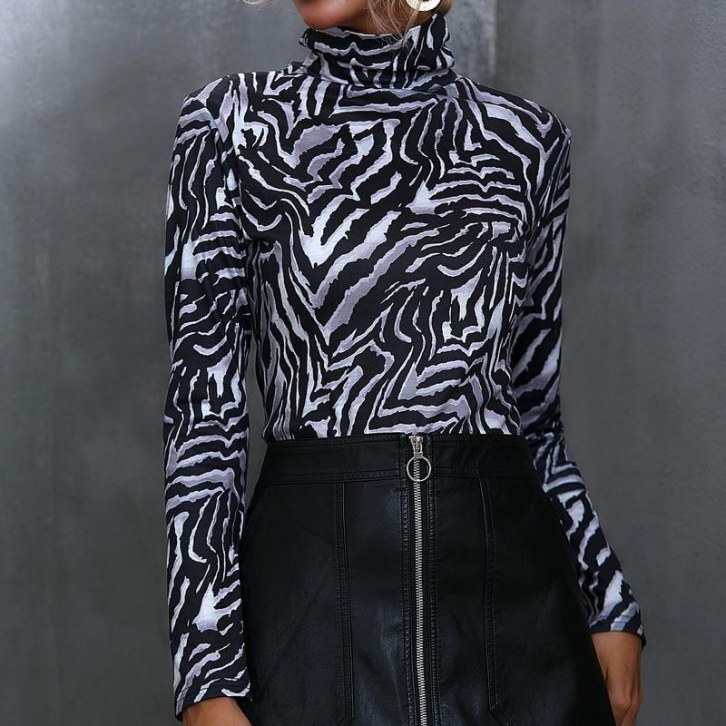 Camiseta para mujer Sexy otoño camisetas Ladies's Tops Casual Turtleneck Manga Larga Leopardo Zebra Impresión delgada Tops de fondo # 35
