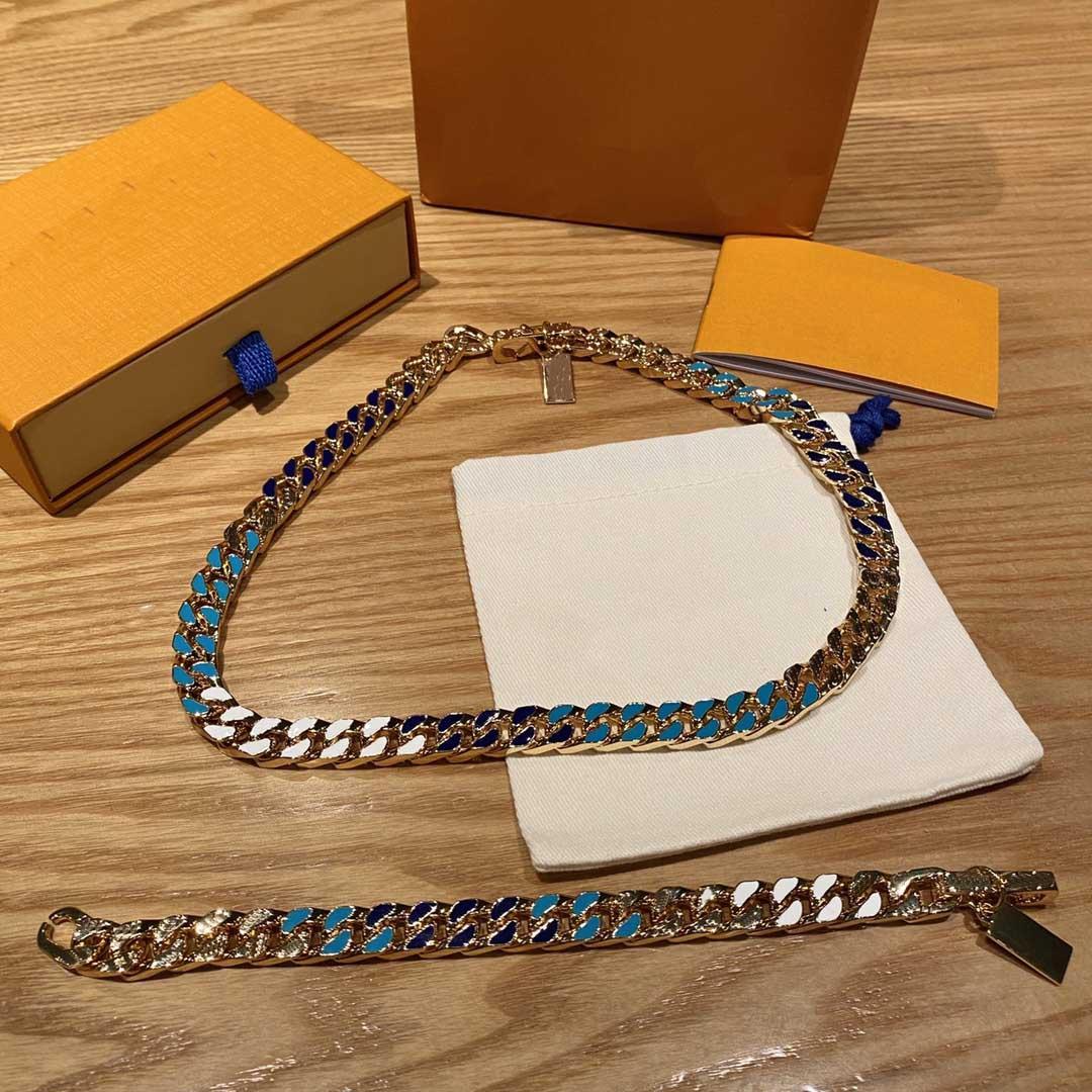 2021 мода мужское радужное ожерелье роскошные кулон ожерелья любви браслет для мужчин Ndesigner ювелирные изделия браслеты с коробкой