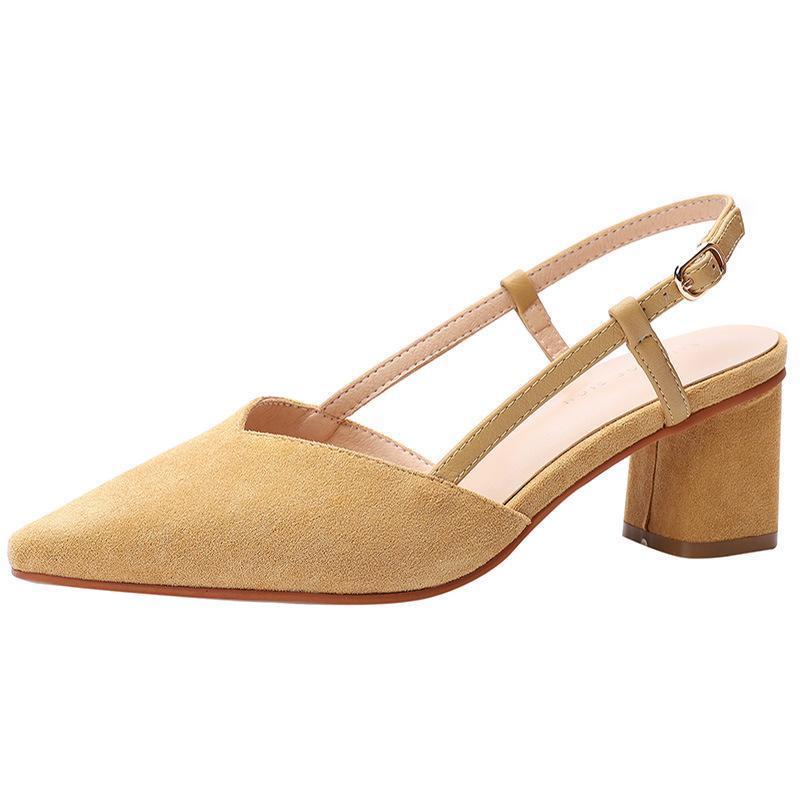 Sandalet Seksi Kelime Toka Kadınlar 2021 Yaz Sürüsü Kayış 6 cm Kalın Yüksek Topuklu Sivri Burun Sığ Arka Ayakkabı