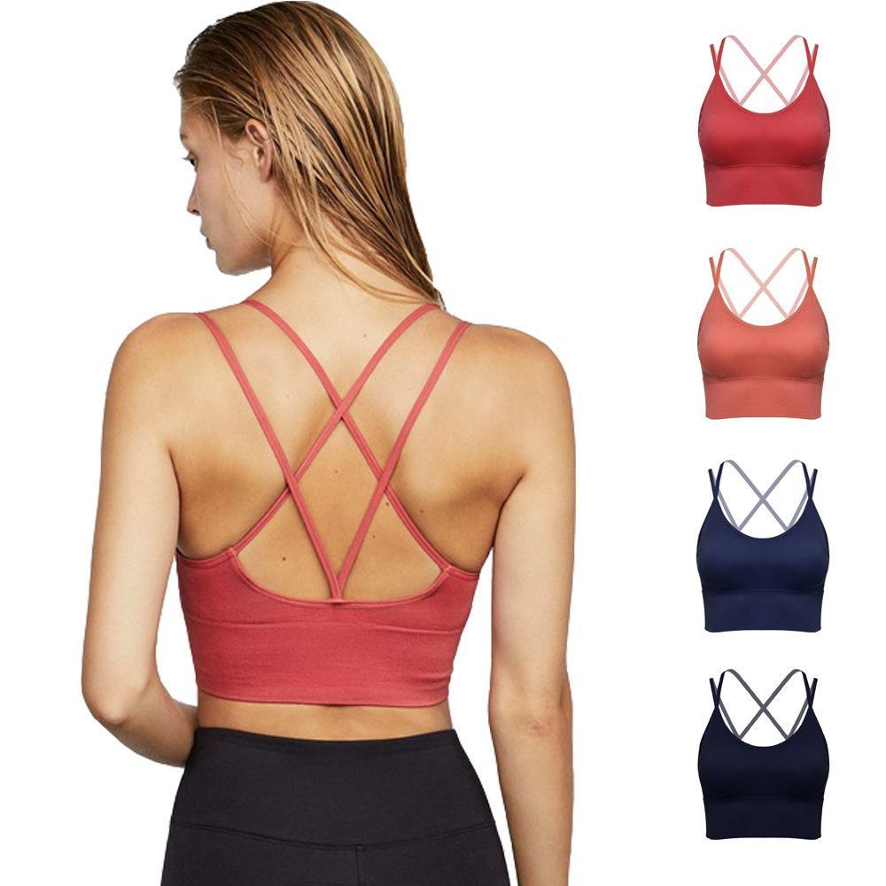 2021 kadın yelek ince omuz askıları geçerken güzellik geri toplama spor iç çamaşırı darbeye koşu spor yoga sutyen iç çamaşırı