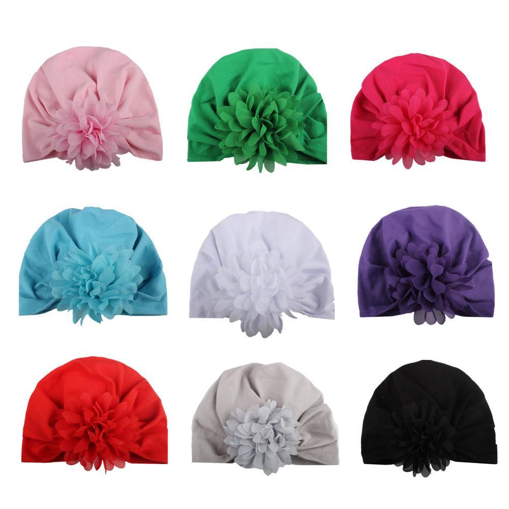 Fashion Baby Hat Caps Europe Style Turban Knot Head Wraps India Hats Ears Cover Kids Children Chiffon Flower Bohemia Beanie KBH48