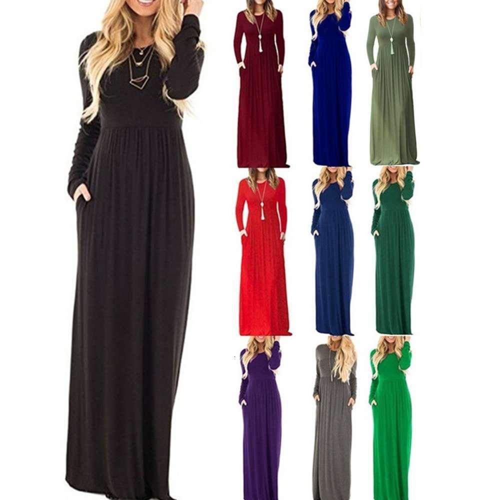 Женская юбка осень зима с длинным рукавом карманный плиссированный платье длиной дола