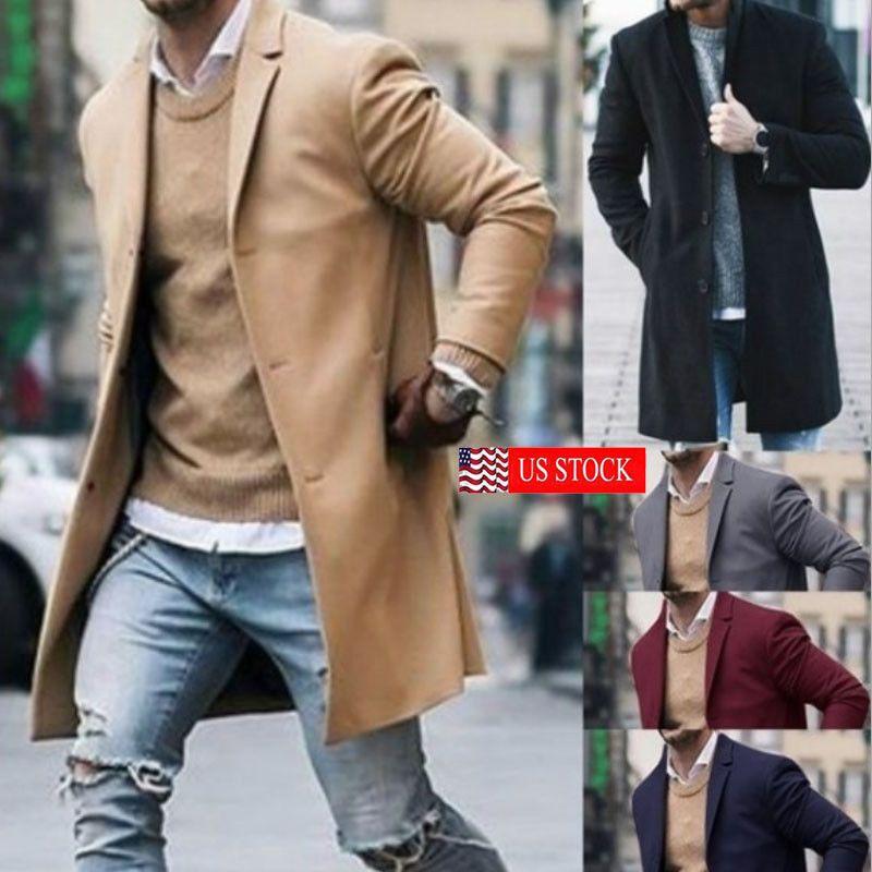 Erkek Yeni Moda Tasarımcısı Uzun Sonbahar Kış Tek Göğüslü Rüzgar Geçirmez Ince Trençkot Erkekler Artı Boyutu