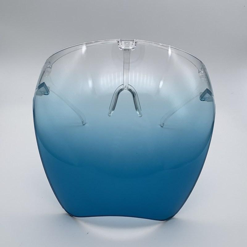 Neue Sicherheits-Faceshield mit Brillenrahmen Transparente volle Gesichtsabdeckung Schutzmaske Anti-Fog-Gesichtsschild Klare Designer-Masken