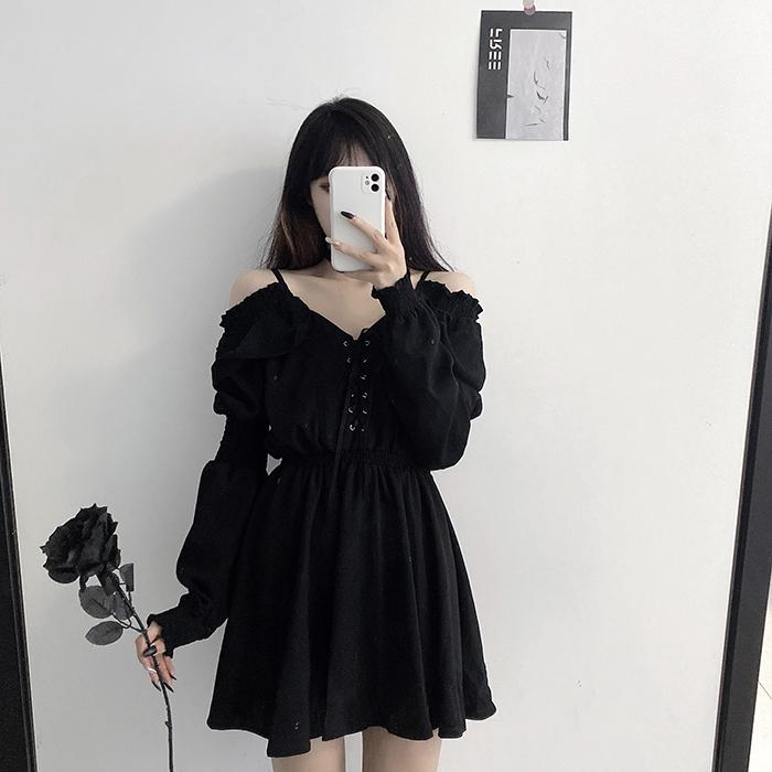 Women Dress Plus Size 4XL Lace Up Black Autumn 2021 Sexy High Waist Femme Dresses Off Shoulder Long Sleeve Gothic Clothes