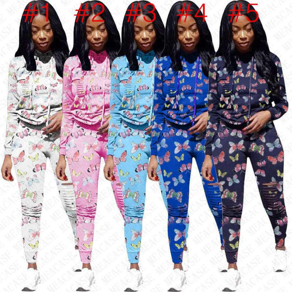 Femmes Tracksuit Designer Butterfly Print SweatSuit Pull à capuche Sweats à capuche Leggings Pantalons Set 2 Tenue de pièce SPORTURE FOURS D72704