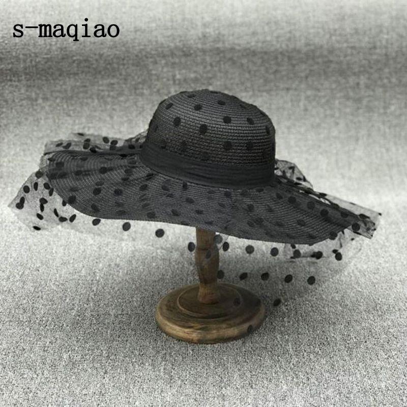 S-MAQIAO جديد الصيف الفرنسية القش قبعة أنيقة نقطة شبكة سيدة قبعة الشمس في الهواء الطلق المرأة الترفيه قبعة الأزياء عطلة قبعة 2020 Y0223