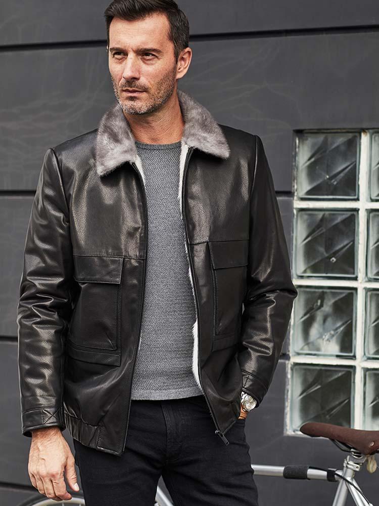 Giacca da uomo in finto cappotto importato in finta pelle di pecora in pelle di pecora nera.