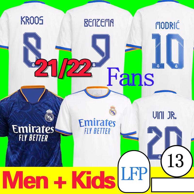 21/22 Camiseta Real Madrid Madrid Soccer Jersey Away Blue Adult Benzema Modric Kroos Vini Jr. Casa Camicia da calcio Bianco 2021/2022 Versione fan uniformi di calcio fútbol kid kit