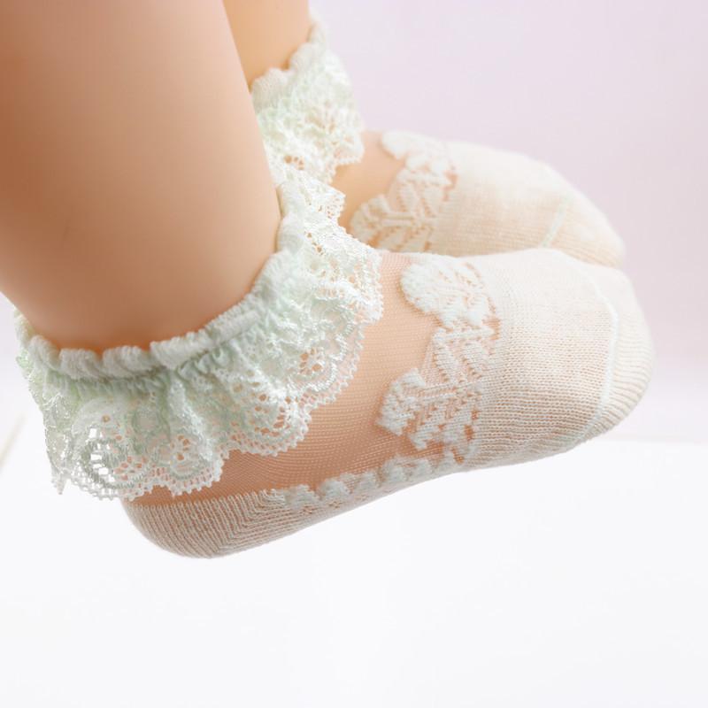 Verano corto Candy Colors Ins busca Baby Girl Transparent Lace Socks 100% algodón elegante niña cómoda princesa calcetines