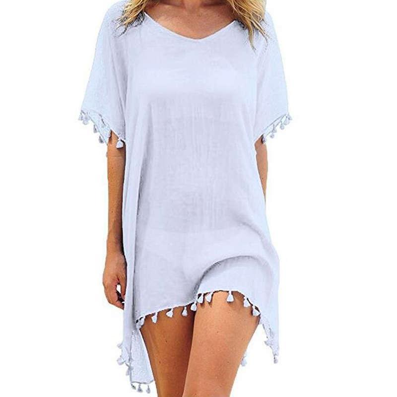 2020 Chiffon Quasten Strand tragen Frauen Badeanzug Up Bademode Badeanzüge Sommer Minikleid Lose Massive Pareo Cover Ups
