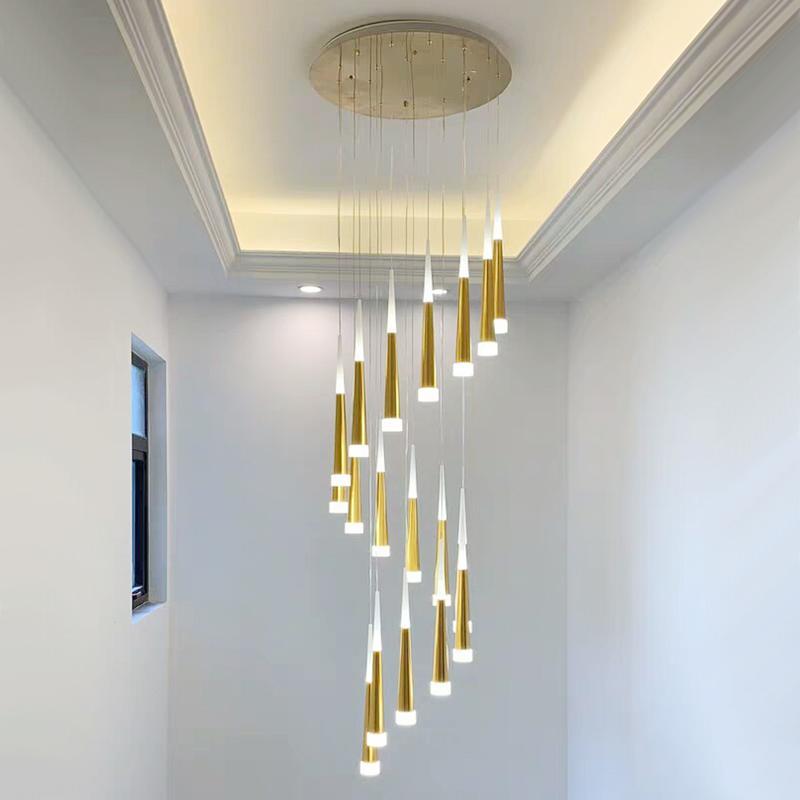 Modern Duplex Spiral Stairs LED Acrílico Larga Araña Negro / Plata / Oro Lámpara Colgante Luz para Villas Sala de estar Dormitorio Cocina Apartamento Iluminación Decoración interior