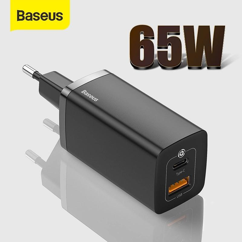 Baseus 65W GaN Charger Dual Port QC 3.0 PD3.0 Type C PD USB Fast For iPhone 12 11 Xiaomi Samsung Laptop Charger