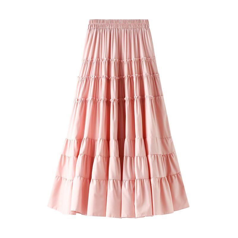 Röcke Frauen Chiffon Kuchen Freie Größe Koreanische Stil Hohe Taille Rüschen Rock Womens Kleidung Casual Mid-Calf A-Line Midi