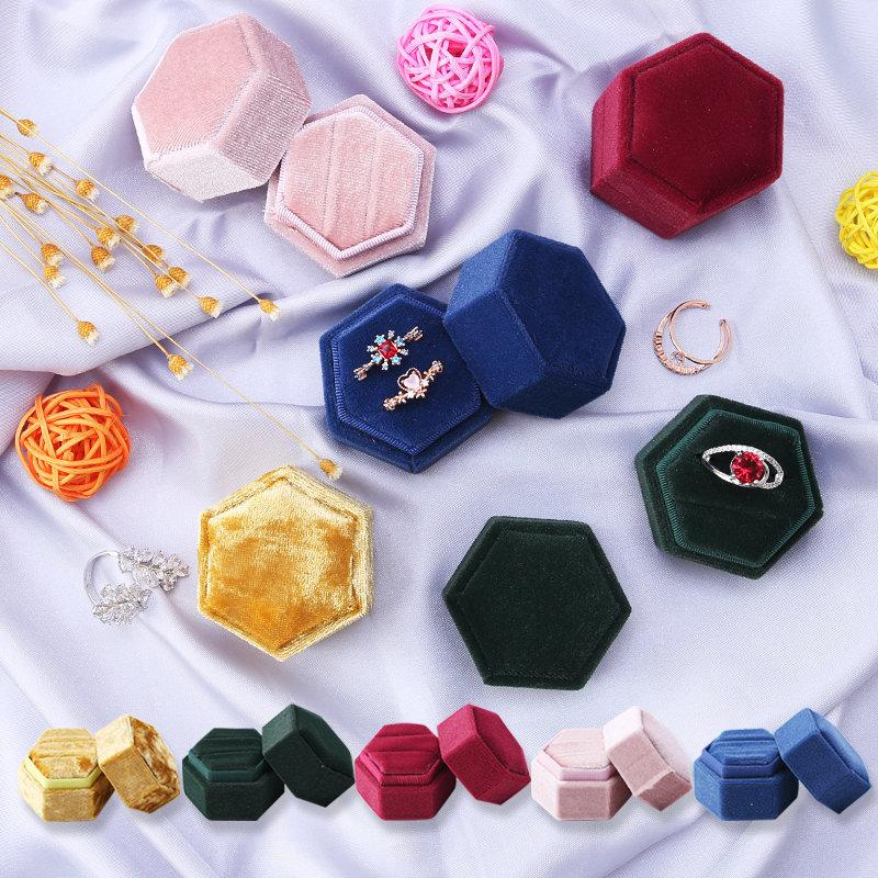 Hexagon Shape Velvet Jewelry Box Double Ring Storage Box Wedding Ring Display For Woman Gift Earrings Packaging 5 Colors L0220