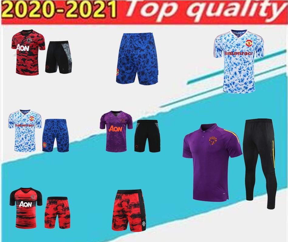 20202021 Manchester Eğitim Takım Elbise Erkekler Rashford Futbol Forması, Polo Gömlek Pogba Birleşik Kısa Kollu Şort Set