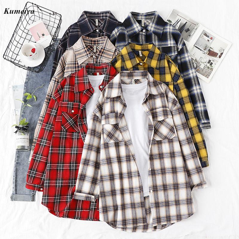 Autunno Plaid Shirt Flannel Camicia Donne Camicette e Top Retrò Cotton Lady Outwear Sky Towear Chemisier Femme Due tasche 210226