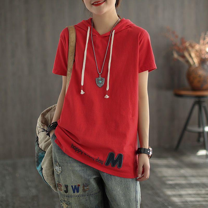Новая летняя Корея мода женщины с коротким рукавом повседневная футболка 100% хлопок свободно с капюшоном футболка Femme Tops плюс размер 210312