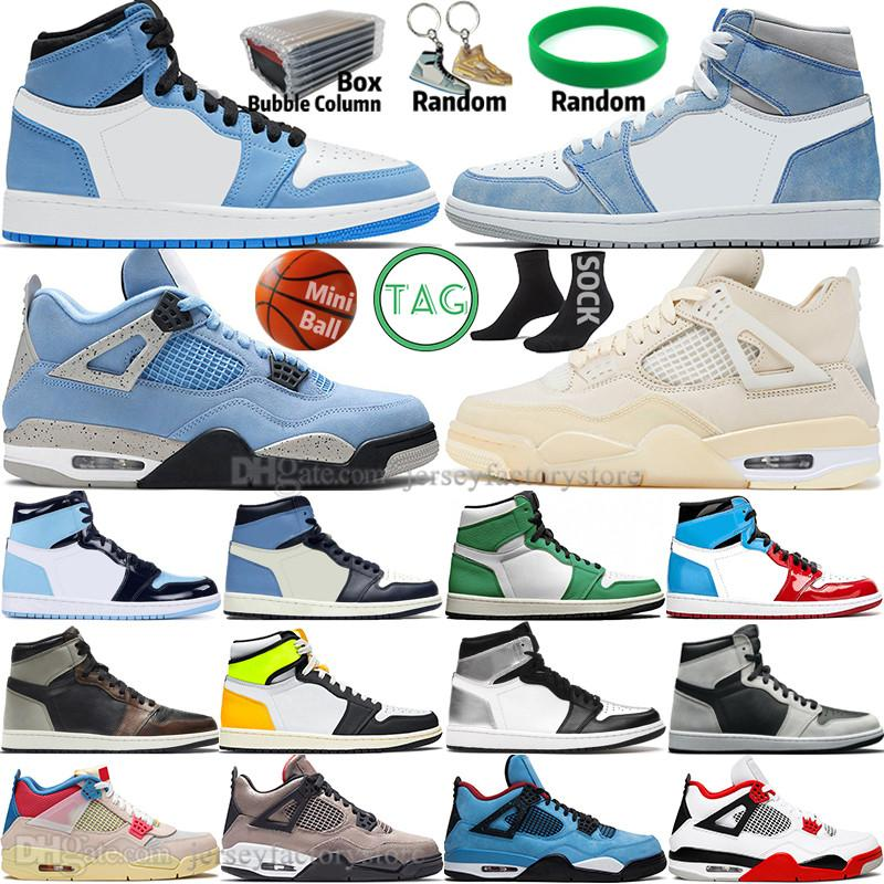 Hyper Royal University Blue 1 1S Mens Basketball Chaussures 4 4S Voile Obsidian Unc Silver Toe Black Cat Bred Lucky Green Starfish Blanc Mineo Sports Femmes Sneakers Formateurs