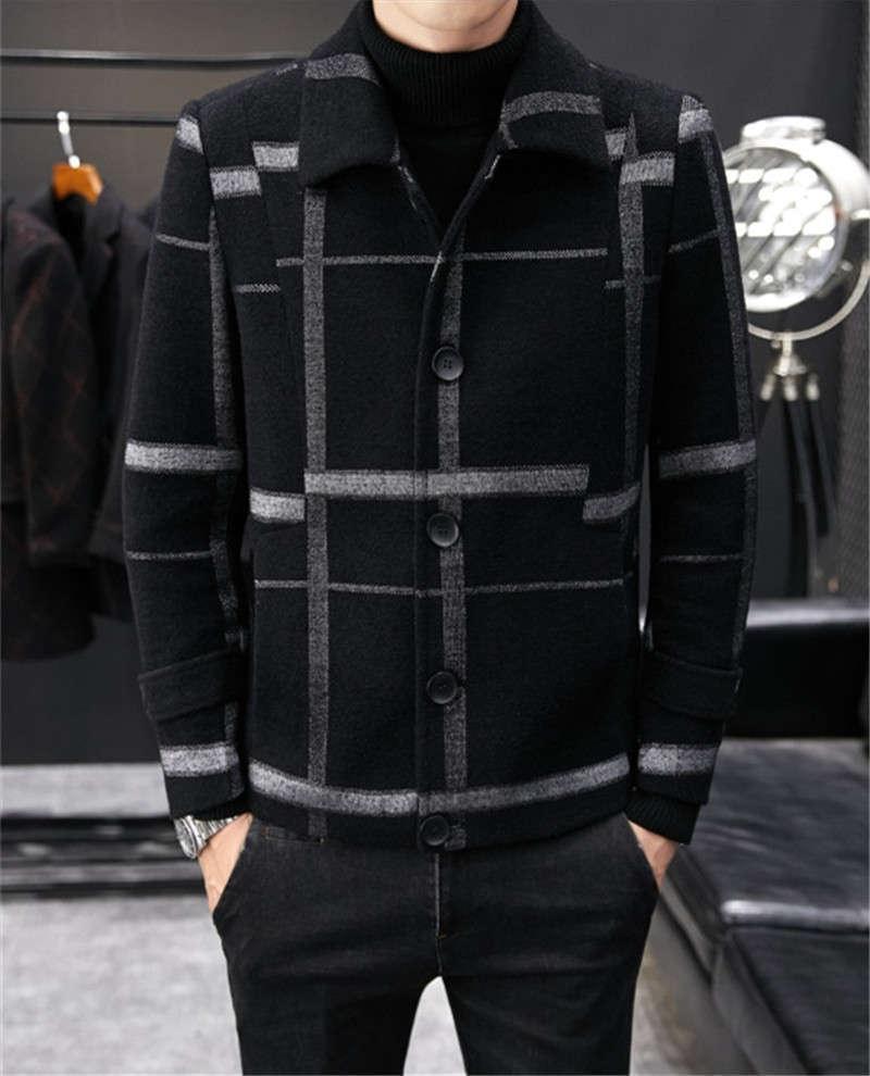Плюс размер шерстяные смеси повседневная одиночная погружная зимняя куртка Busuness Mens плещеные пальто дизайнер роскошь