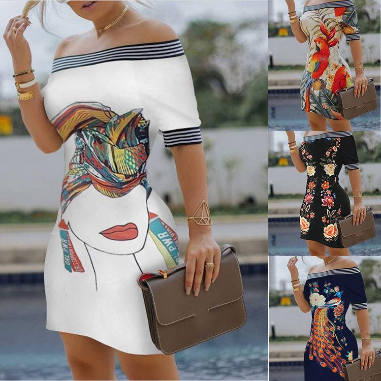 Bayan Tasarımcı Slash Boyun Elbise Bayan Dijital Baskılı Elbiseler Kadınlar Için Seksi Ince Kalem Elbise