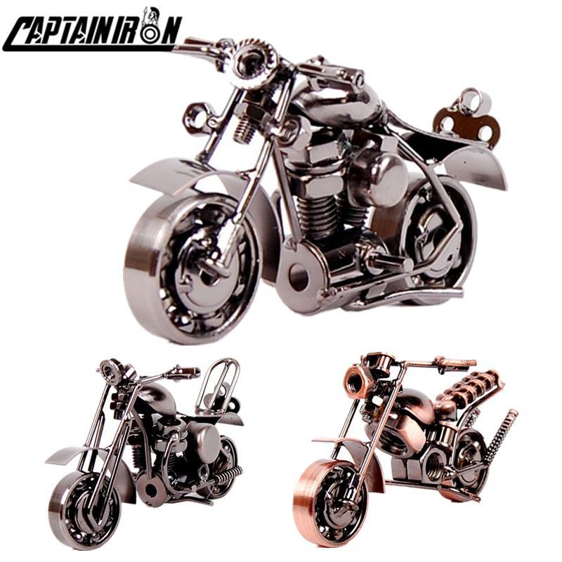 Капитанророн ручной работы железный мотоцикл модель ретро двигатель статуэтка металлические украшения железа мотоцикл опоры старинные домашние декор детские игрушки C0220