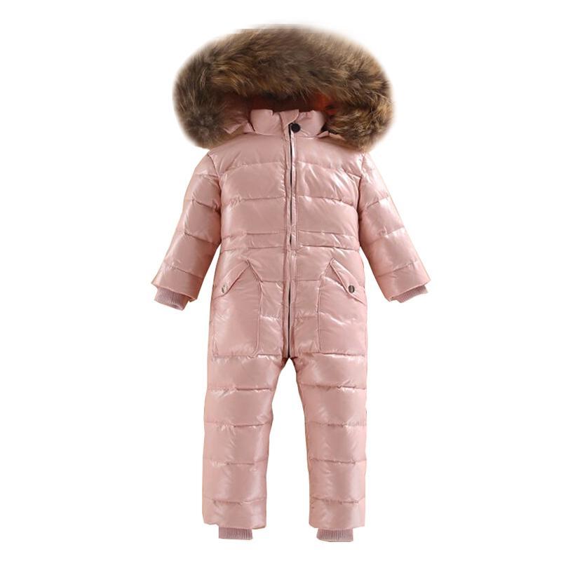 Dollplus Baby Strampler Russischer Winter Overalls White Duck Down Ski Schneeanzug Outdoor Girls Boy Jumpsuits Echt Pelz Kapuze 2 ~ 5 Jahre J1221