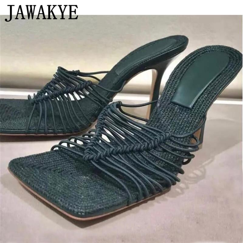 2021 Summer High heels Strappy Sandals Women Thin elastic strap Black Green ladies Party Shoes Runway High Heel Mules Sandals