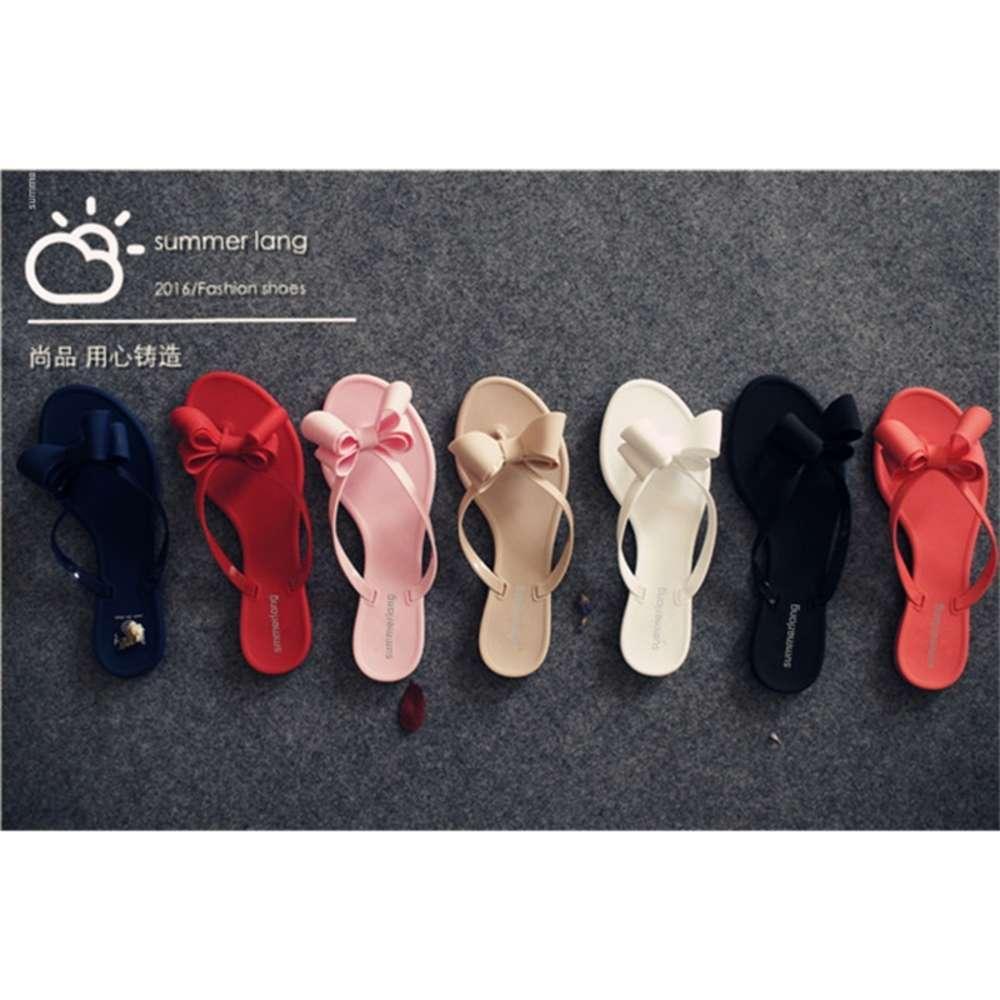 Летний новый клип нога лук сандалии женские пляжные туфли сплошной цвет флип флоп желе обувь