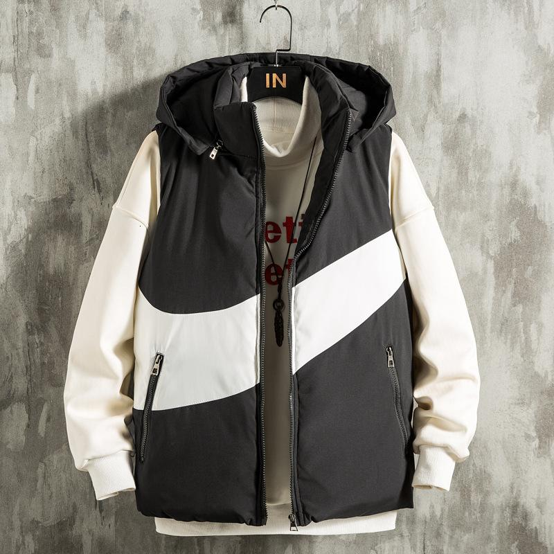 20 Новый Вниз Жилет для хлопка Пара Большой Крюк Утолщенные с капюшоном Без рукавов Мужское пальто MJ670