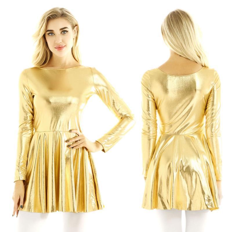 Günlük Elbiseler 2021 Kadınlar Bayanlar Parlak Metalik Dans Elbise Uzun Kollu Kızlar A-Line Stil Mini Ince Parti Clubwear Bahar Giysileri
