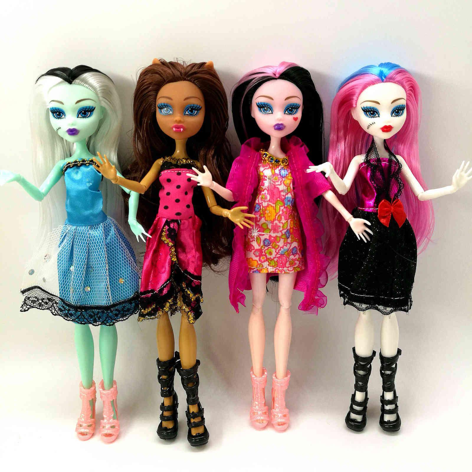 4 unids / lote estilo Monster Fun High Dolls Monster Draculaura Hight Moveable Junta, Regalo de los niños Muñecas de moda al por mayor 210714