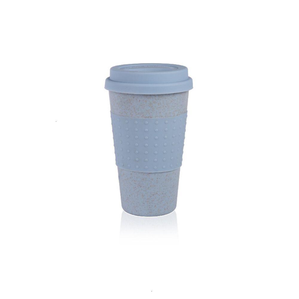 Taza de café de silicona con la tapa de la moda Eco-Friendly Friendra de trigo Taza de té Copa Café Creativo Taza de viaje Taza Pink Tea Azul PPD3406 KF Ihiho