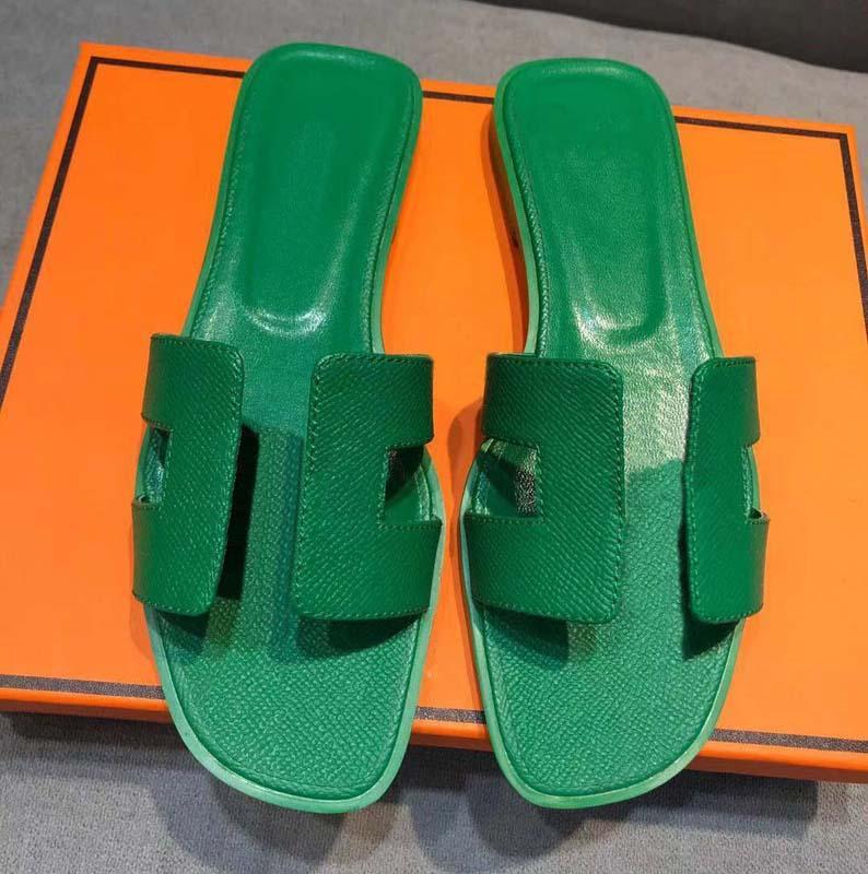 Clássicos Moda Mulheres Sangres Sandálias Slides Summer Sexy Real Plataforma de Couro Flats Sapatos Senhoras Praia Chinelos Home011 33
