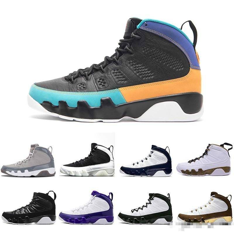 9s Hombres Zapatos Sports Bred Lakers PE OG Space High Black White Sneakers 41-47