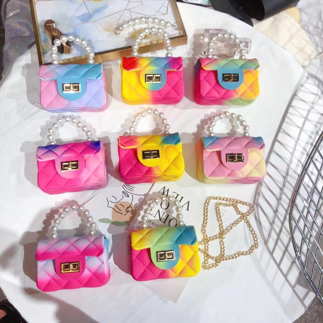 أطفال بنات أزياء مصغرة rainbow الأميرة اللؤلؤ سلسلة رسول حقيبة يد مصممي أكياس حقيبة crossbody حقيبة واحدة الكتف تغيير محفظة