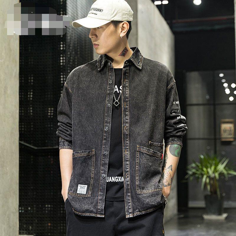 Männer Jacken Frühling Herbst 2021 Buchstabe Gedruckt Werkzeug Koreaner Trendy Mantel Mann Lose Beiläufige Revers Plus Fat 5XL Denim Jacke
