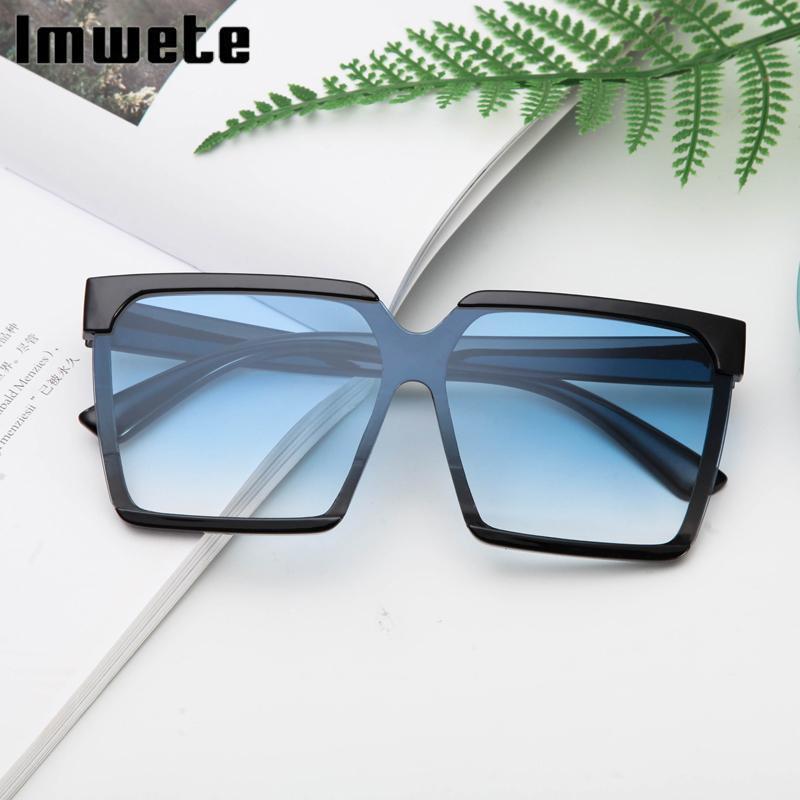 Солнцезащитные очки Imwete старинные негабаритные квадратные мужчины женщины ретро цветные очки градиентный дизайнер леопард UV400