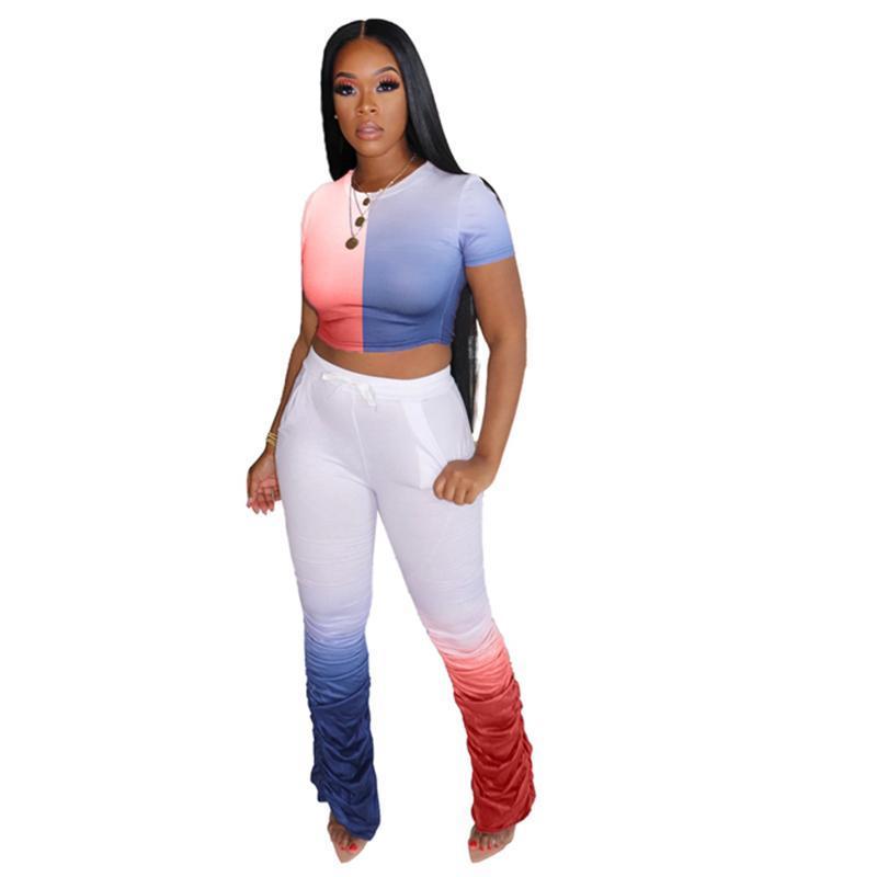 Случайный штабелированные набор штанов для женщин 2 шт. Летние наряды цветной пэчворк двух частей набор набор урожая и брюки подходящие наборы