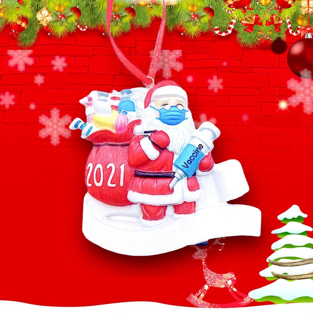2021 Рождественский орнамент Санта-носить маску в карантинском смоле Санта-Клаус украшения на память уникальные орнаменты для дерева