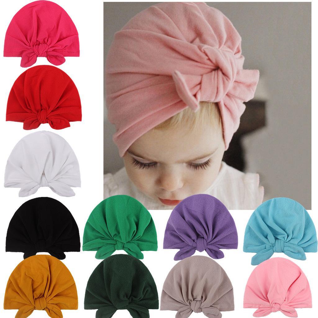 طفل القبعات الأرنب الأذن قبعات آذان غطاء أوروبا نمط العمامة عقدة رئيس يلتف 10 ألوان الرضع أطفال الهند قبعة قبعة KBH69