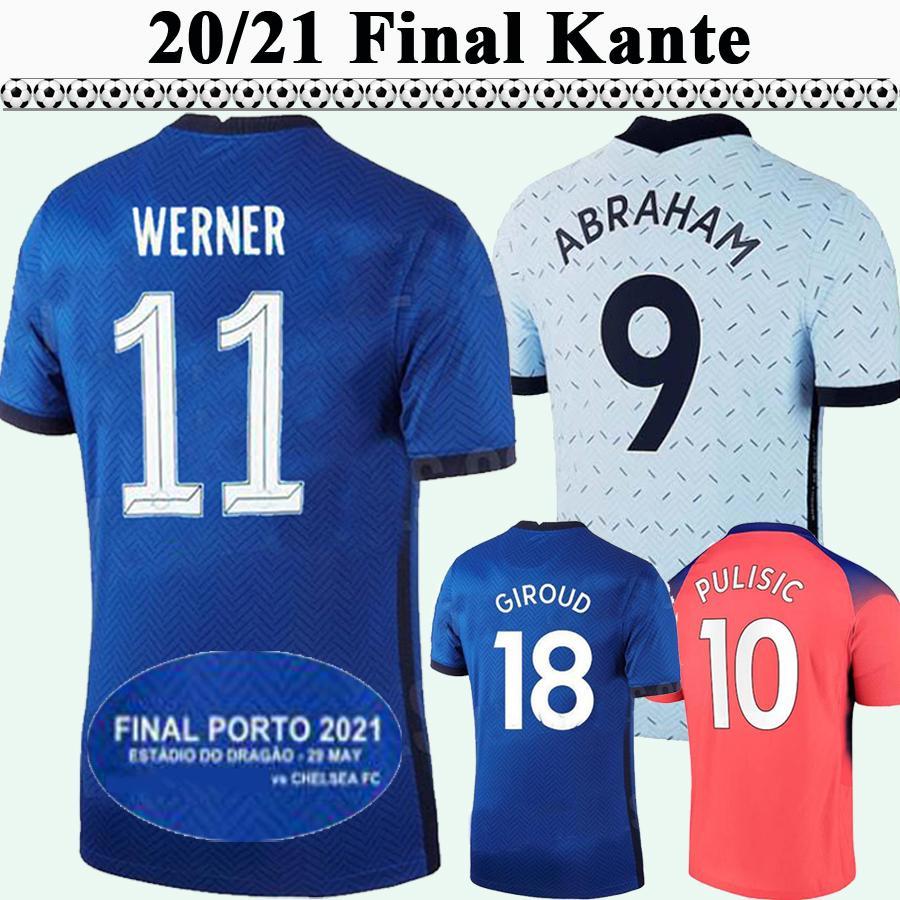 20 21 22 Ziyech Pulisic Havvertz Mens Soccer Jerseys Kante Giroud Lampard Werner Jorginho Kovacic Home Blue Away 3ème chemise de football Sleeve courte