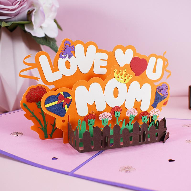 Mother Birthday Greeting Card Creative 3D Pop-Up Love U Mom Greeting Card for Birthday Thanksgiving Day