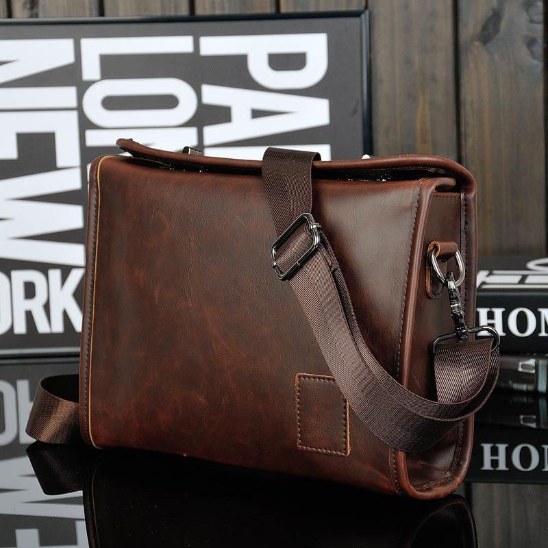 Crazy Horse PU Leder Männer Aktentasche Marke Luxus Messenger Bag Male Laptoptasche Business Mode Umhängetaschen Reisetasche 210305