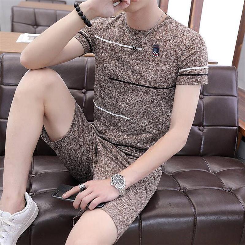 Pijama de verano Set Hombres Homewear de manga corta camisas Shorts Cintura Elástica Fitness Casual Solfle Sleepwear Traje Masculino Sports Traje