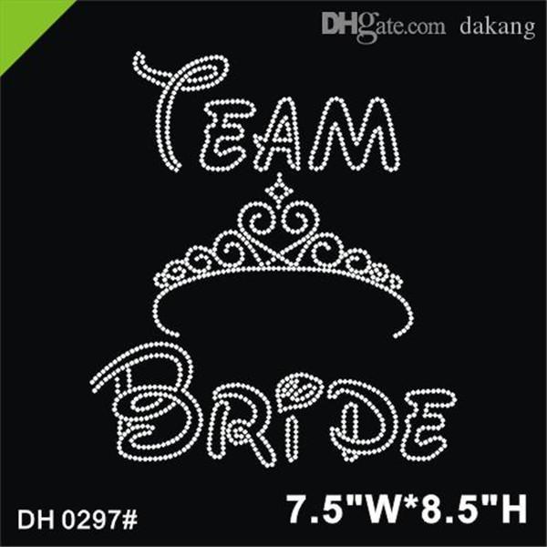 Free shipping Latest design team bride rhinestone iron on transfer wholesale DIY DH0297#