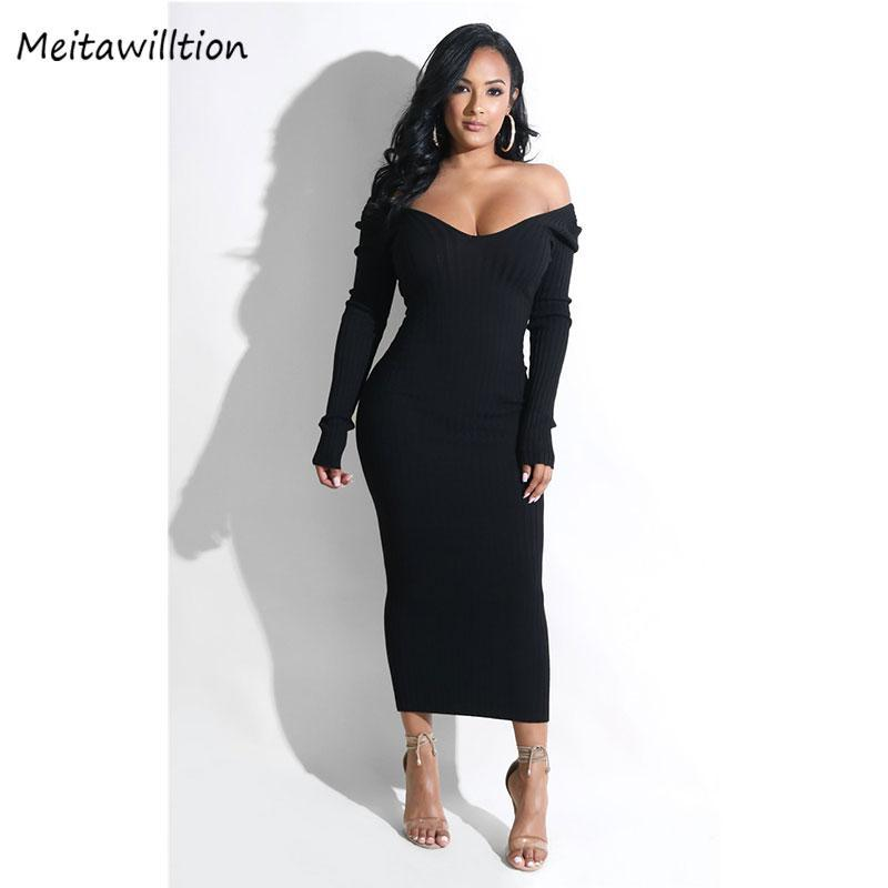 Casual Dresses Sexy V Neck Ribbed Knitted Dress Women Autumn Winter Long Sleeve Backless Midi Pencil 2021 Vintage Party