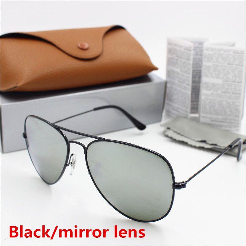 Yeni Yüksek Kalite erkek ve kadın Vintage Pilot Güneş Gözlüğü Altın Çerçeve Siyah 62mm Cam Lens UV400 Koruma Kahverengi Kılıf Tujdjd TJRJR
